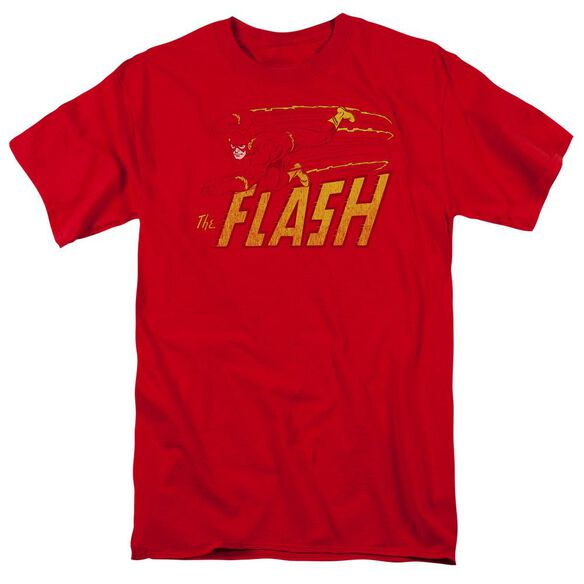 Dc Flash Speed Distressed Short Sleeve Adult Red T-Shirt