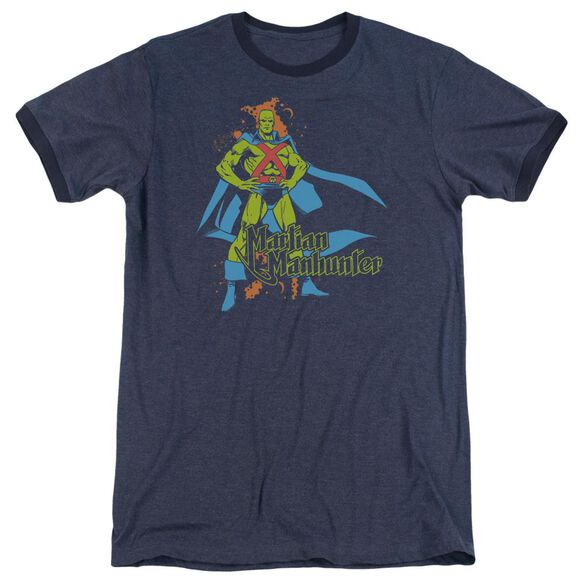 Dc Martian Manhunter Adult Heather Ringer Navy