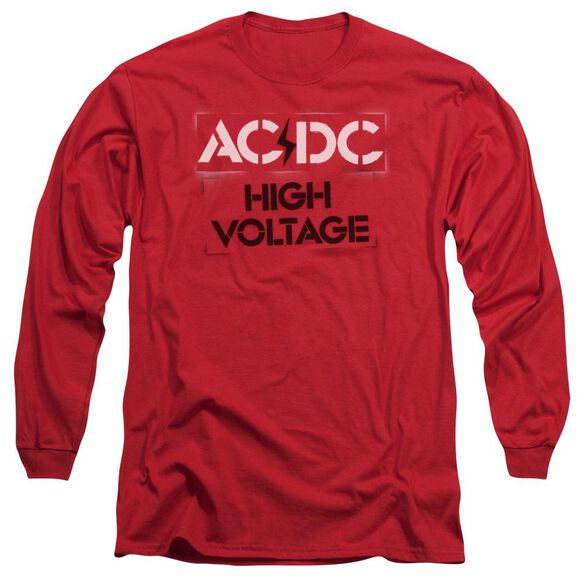 Acdc High Voltage Stencil Long Sleeve Adult T-Shirt