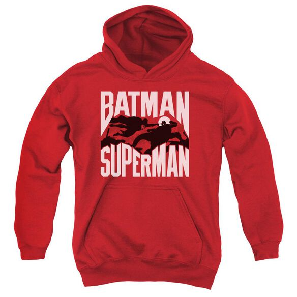 Batman Vs Superman Silhouette Fight Youth Pull Over Hoodie