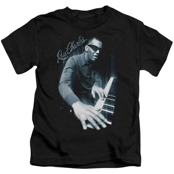 Ray Charles Blues Piano Short Sleeve Juvenile Black Md T-Shirt