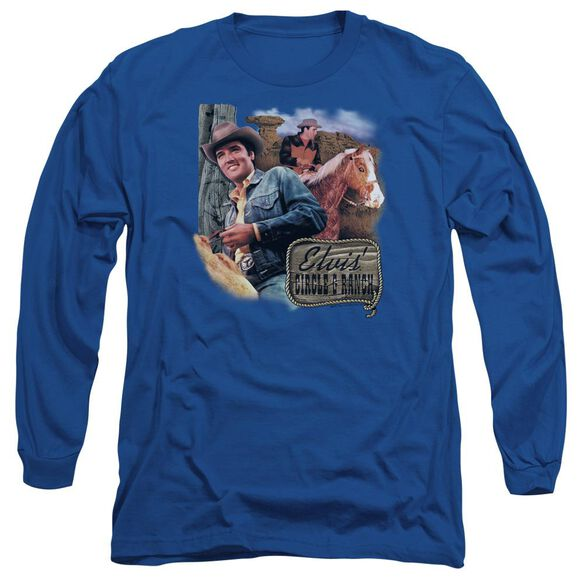 Elvis Presley Ranch Long Sleeve Adult Royal T-Shirt