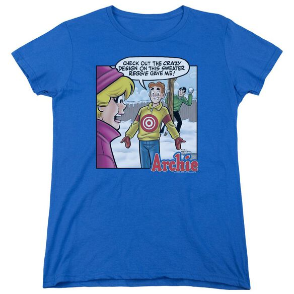 Archie Comics Crazy Sweater Short Sleeve Womens Tee Royal T-Shirt