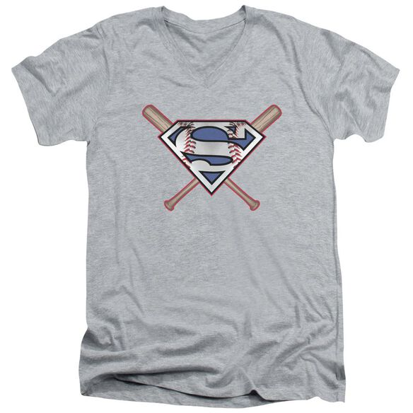 Superman Crossed Bats Short Sleeve Adult V Neck Athletic T-Shirt