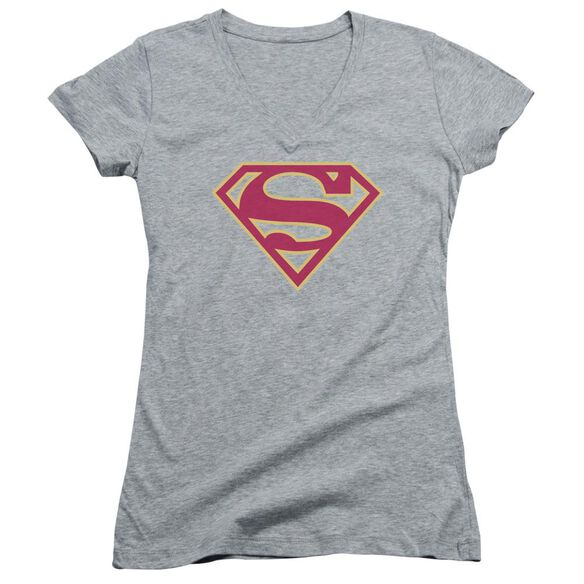 Superman Red & Gold Shield Junior V Neck Athletic T-Shirt