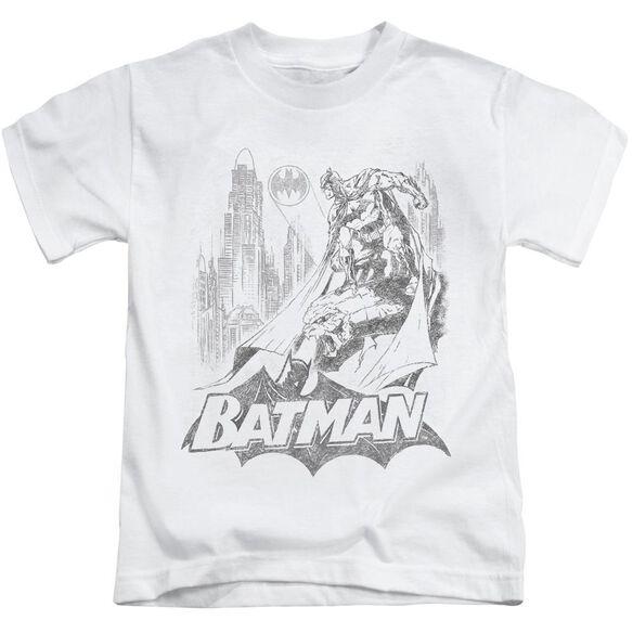 Batman Bat Sketch Short Sleeve Juvenile White Md T-Shirt