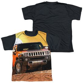 Hummer Sunset Ride Short Sleeve Youth Front Black Back T-Shirt