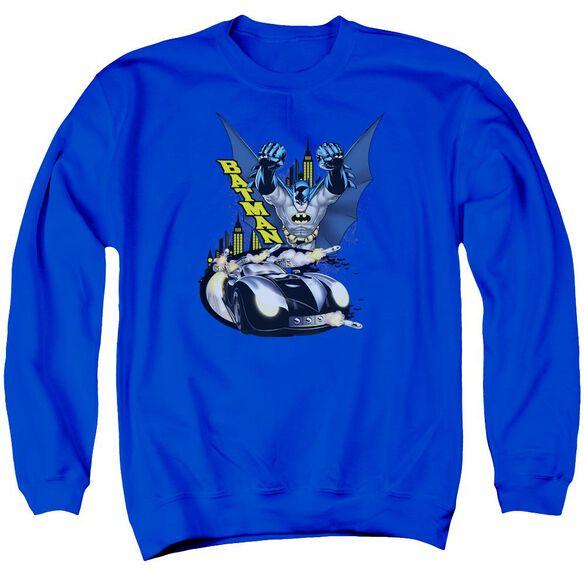 Batman By Air &Amp; By Land Adult Crewneck Sweatshirt Royal