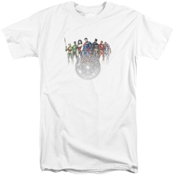 Jla Circle Crest Short Sleeve Adult Tall T-Shirt