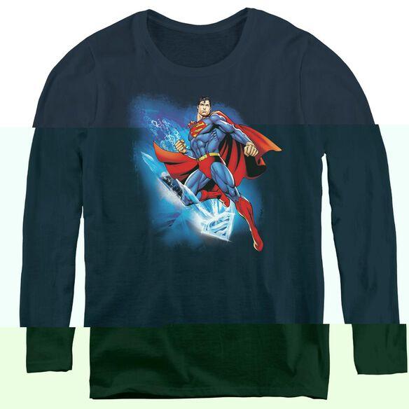 Superman Crystallize - Womens Long Sleeve Tee - Navy