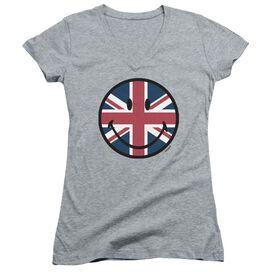 Smiley World Union Jack Face Junior V Neck Athletic T-Shirt