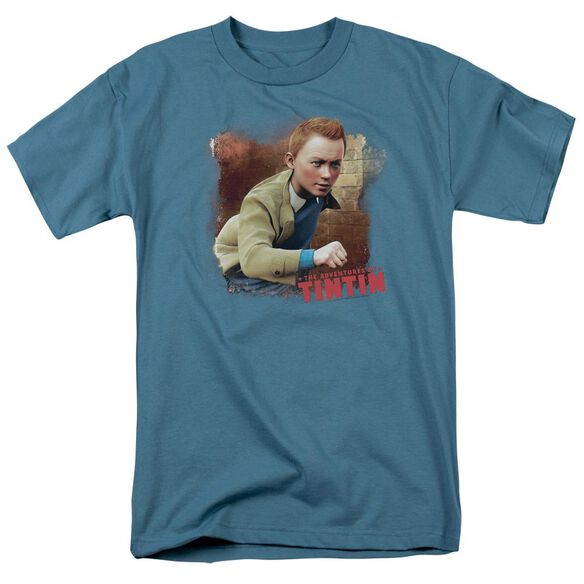 Tintin Title Short Sleeve Adult Slate T-Shirt