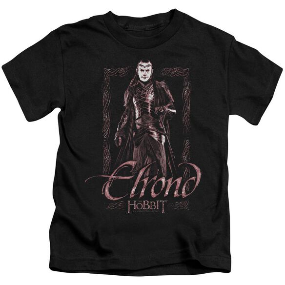 The Hobbit Elrond Stare Short Sleeve Juvenile Black T-Shirt