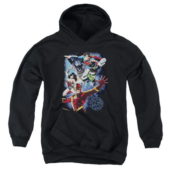 Jla Galactic Attack Color Youth Pull Over Hoodie