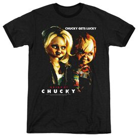 BRIDE OF CHUCKY CHUCKY GETS LUCKY - ADULT HEATHER RINGER - BLACK