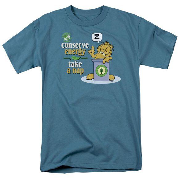 Garfield Conserve Energy Short Sleeve Adult Slate T-Shirt