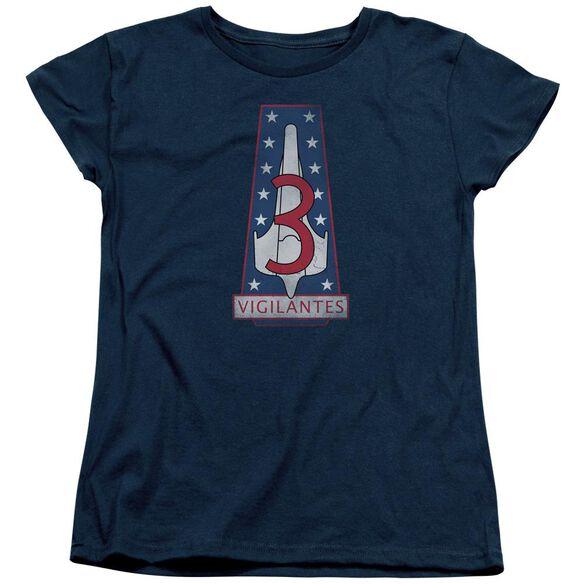 BSG VIGILANTES BADGE - S/S WOMENS TEE - NAVY T-Shirt