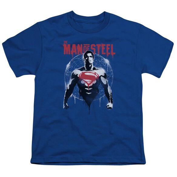 Batman V Superman Super Spray Short Sleeve Youth Royal T-Shirt