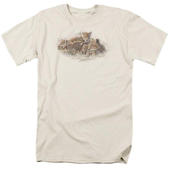 Wildlife Lion Cubs Short Sleeve Adult Cream T-Shirt