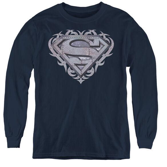 Superman Tribal Steel Shield - Youth Long Sleeve Tee - Navy