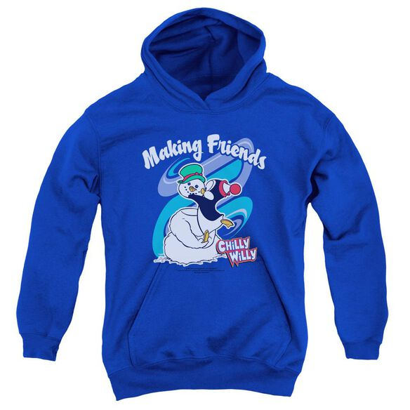 Chilly Willy Making Friends Youth Pull Over Hoodie Royal Royal