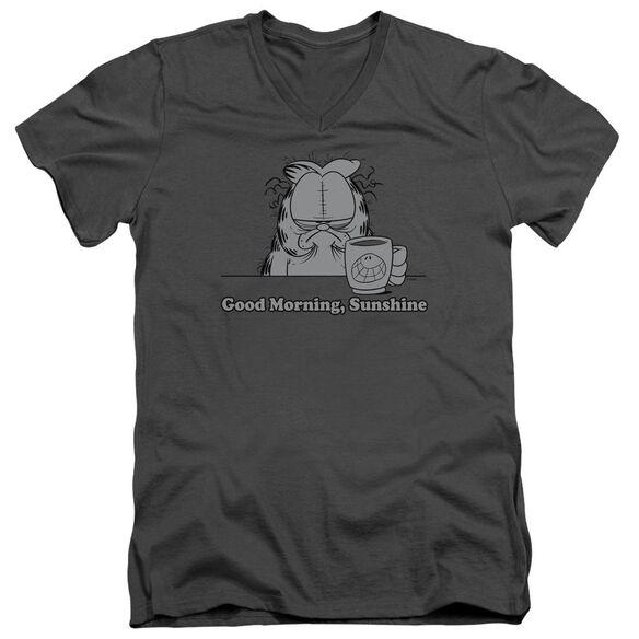 Garfield Good Morning Sunshine Short Sleeve Adult V Neck T-Shirt