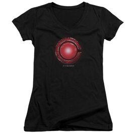 Justice League Movie Cyborg Logo Junior V Neck T-Shirt