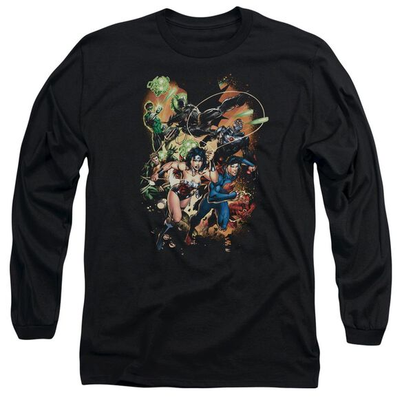 Jla Battle Ready Long Sleeve Adult T-Shirt