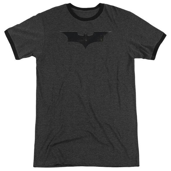 Batman Begins Logo Adult Heather Ringer Charcoal