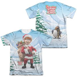 SANTA CLAUS IS COMIN TO TOWN HELPERS (FRONT/BACK PRINT)-ADULT POLY/COTTON T-Shirt