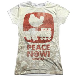 Woodstock Peace Now Short Sleeve Junior Poly Crew T-Shirt