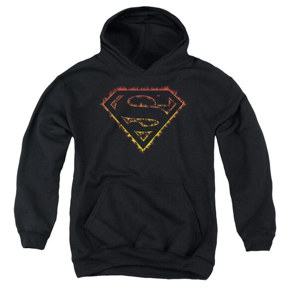 Superman Flame Outlined Logo Youth Pull Over Hoodie