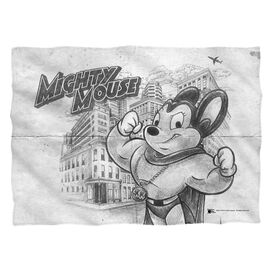 Mighty Mouse Sketch Pillow Case White