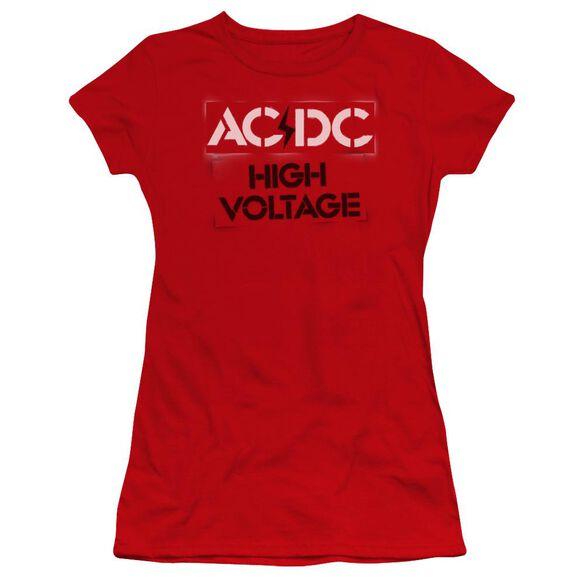 Acdc High Voltage Stencil Premium Bella Junior Sheer Jersey