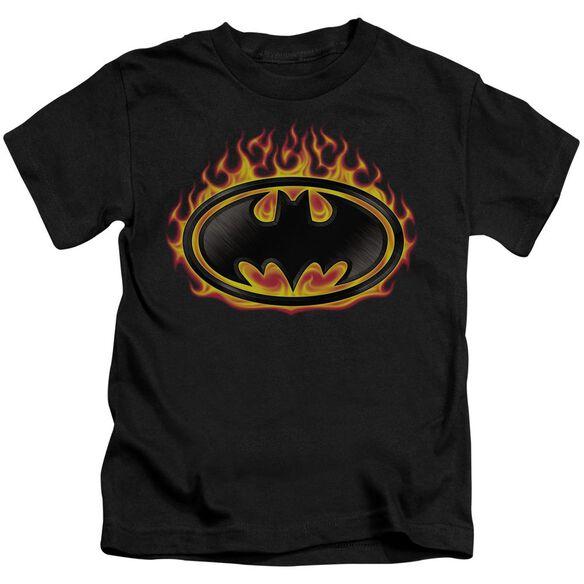 Batman Bat Flames Shield Short Sleeve Juvenile Black T-Shirt