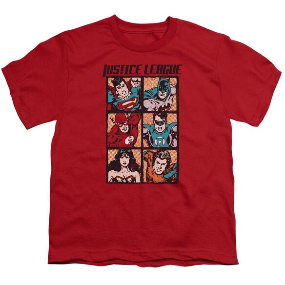 Jla Rough Panels Short Sleeve Youth T-Shirt