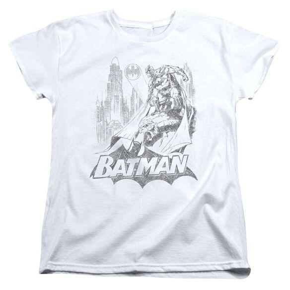 Batman Bat Sketch Short Sleeve Womens Tee T-Shirt