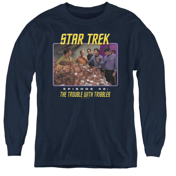 St:original The Trouble With Tribbles - Youth Long Sleeve Tee - Navy