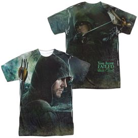 Arrow Hero (Front Back Print) Short Sleeve Adult Poly Crew T-Shirt