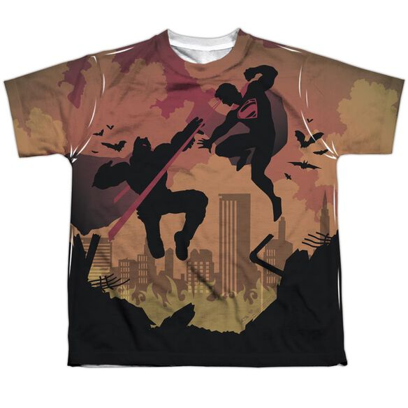 Batman V Superman Silhouette Fight Short Sleeve Youth Poly Crew T-Shirt