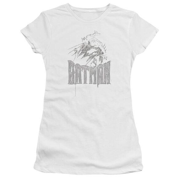 BATMAN KNIGHT SKETCH - S/S JUNIOR SHEER - WHITE T-Shirt