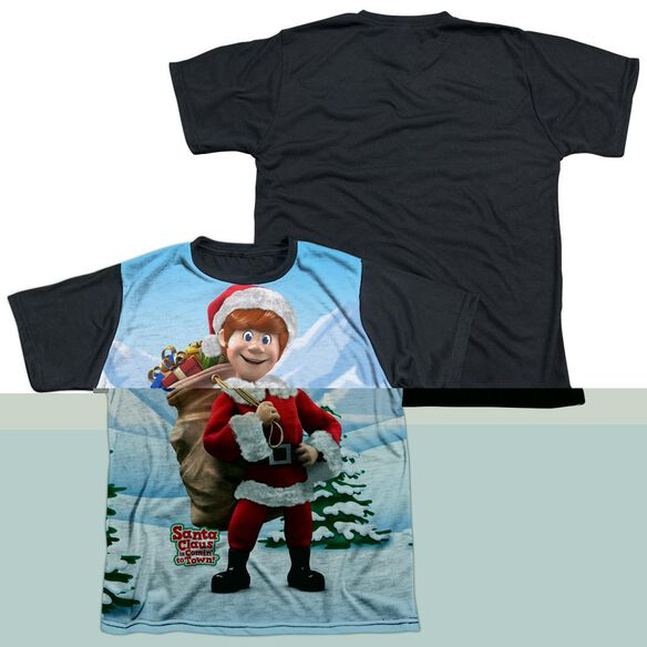 SANTA CLAUS IS COMIN TO TOWN HELPERS-S/S YOUTH WHITE FRONT BLACK BACK T-Shirt