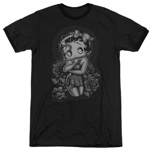 Betty Boop Fashion Roses Adult Heather Ringer