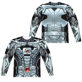 Jla Cyborg (Front Back Print) Long Sleeve Adult Poly Crew T-Shirt