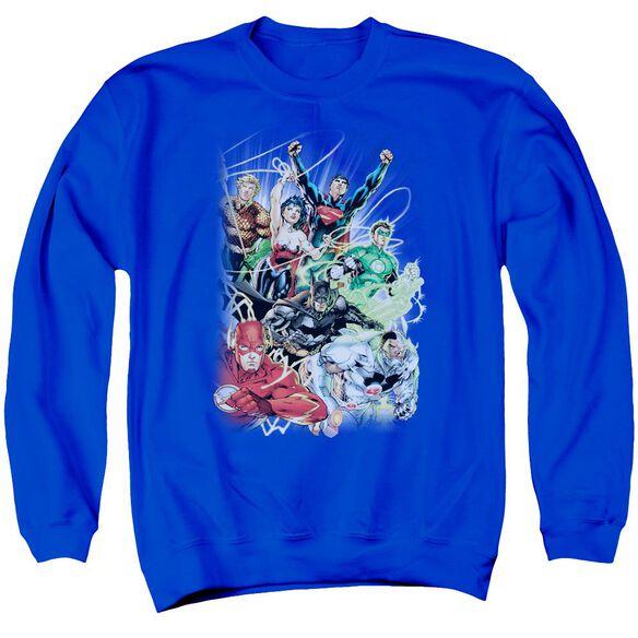 Jla Justice League #1 Adult Crewneck Sweatshirt Royal