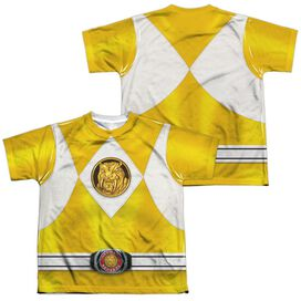 Power Rangers Yellow Ranger Emblem (Front Back Print) Short Sleeve Youth Poly Crew T-Shirt