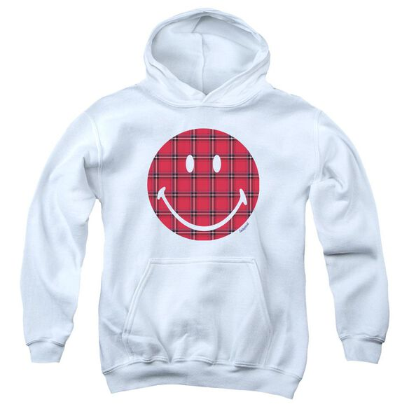 Smiley World Plaid Face Youth Pull Over Hoodie