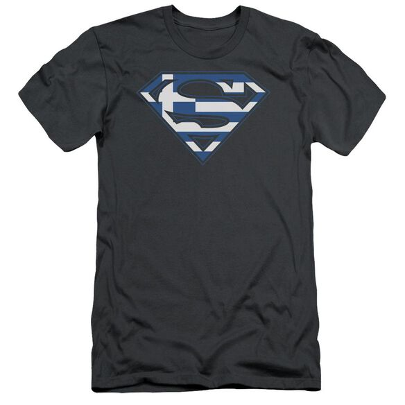 SUPERMAN GREEK SHIELD - S/S ADULT 30/1 - CHARCOAL T-Shirt