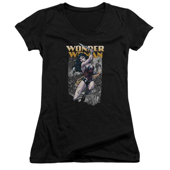 Jla Wonder Slice Junior V Neck T-Shirt