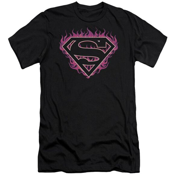 Superman Fuchsia Flames Short Sleeve Adult T-Shirt